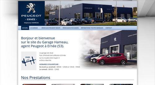 Site internet du Garage Hameau concessionnaire Peugeot à Ernée<br>réalisé par SiteWebconcept à Vitré
