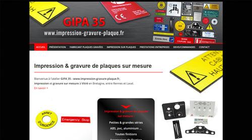 Site internet GIPA 35 impression gravure sur plaque<br>réalisé par SiteWebconcept à Vitré