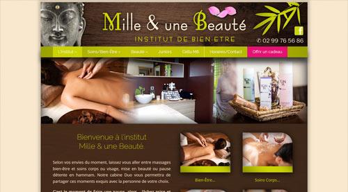 Site internet de l'institut Mille et Une Beauté à Bais<br>réalisé par SiteWebconcept à Vitré