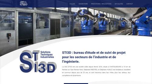 Site internet de STI3D bureau d'étude et suivi de projetréalisé par SiteWebconcept à Vitré