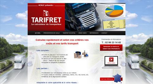 Site internet de TARIFRET calcul des coûts de transport<br>réalisé par SiteWebconcept à Vitré