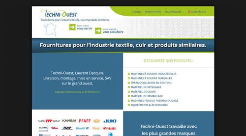 Site internet de Techni-Ouest fournitures pour l'industrie textile, cuir…<br>réalisé par SiteWebconcept à Vitré