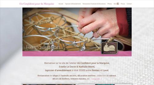 Site web Un Confident pour la Marquise tapissier d'ameublement<br>réalisé par SiteWebconcept à Vitré