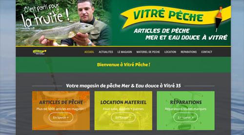 Site internet de Vitré Pêche magasin d'articles de pêche à Vitré<br>réalisé par SiteWebconcept à Vitré