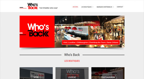 Site internet Who's Back magasins de vêtements / chaussures<br>réalisé par SiteWebconcept à Vitré
