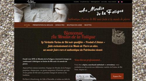 Site web du Moulin de la Fatigue farine de blé noir artisanale<br>réalisé par SiteWebconcept à Vitré
