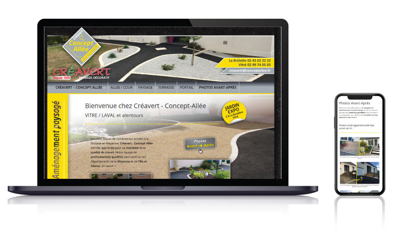 Site internet vitrine paysagiste Créavert – Concept-Allée<br>réalisé par <strong>SiteWebconcept,</strong> <strong>Agence Web</strong><br>à <strong>Rueil Malmaison</strong>, <strong>Laval</strong> et <strong>Vitré</strong>