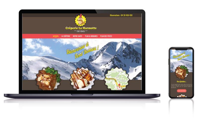 Site internet du Restaurant Crêperie La Marmotte à Font Romeu<br>réalisé par <strong>SiteWebconcept,</strong> <strong>Agence Web</strong><br>à <strong>Rueil Malmaison</strong>, <strong>Laval</strong> et <strong>Vitré</strong>