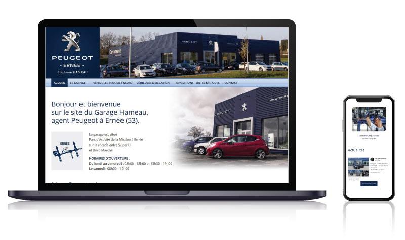 Site internet du Garage Hameau concession Peugeot à Ernée<br>réalisé par <strong>SiteWebconcept,</strong> <strong>Agence Web</strong><br>à <strong>Rueil Malmaison</strong>, <strong>Laval</strong> et <strong>Vitré</strong>