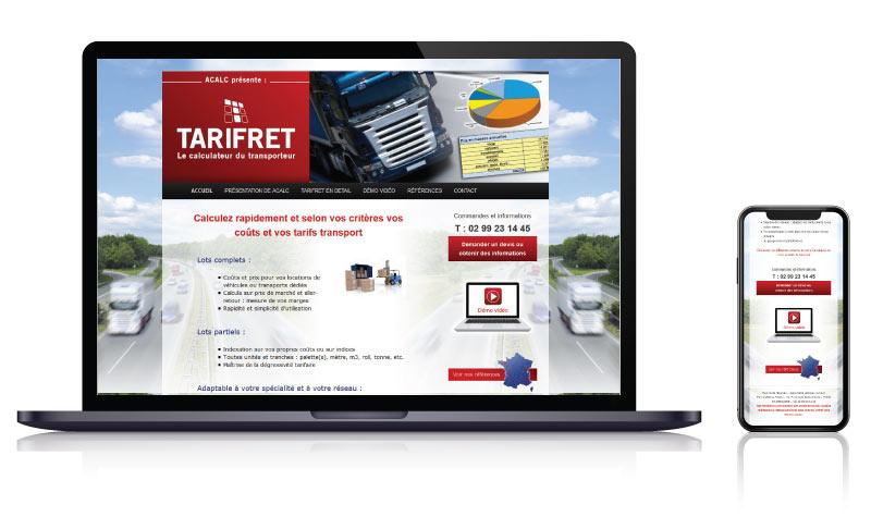 Site internet de TARIFRET concepteur logiciels pour transporteurs<br>réalisé par <strong>SiteWebconcept,</strong> <strong>Agence Web</strong><br>à <strong>Rueil Malmaison</strong>, <strong>Laval</strong> et <strong>Vitré</strong>