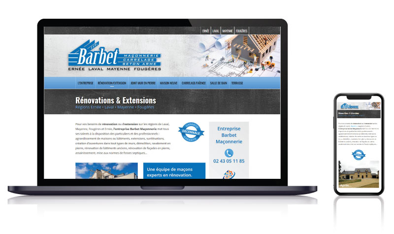 Site internet pour l'entreprise de maçonnerie Barbet<br>réalisé par <strong>SiteWebconcept,</strong> <strong>Agence Web</strong><br>à <strong>Rueil Malmaison</strong>, <strong>Laval</strong> et <strong>Vitré</strong>