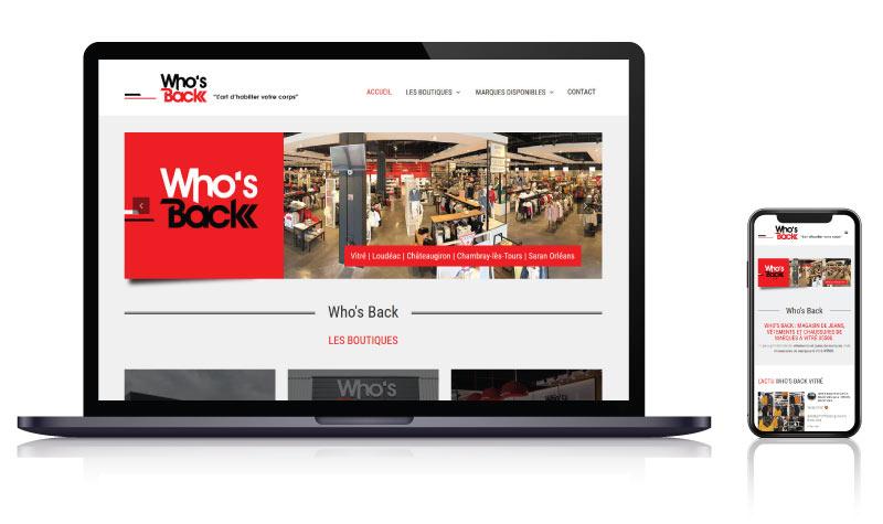 Site internet Who's Back magasins de vêtements / chaussures<br>réalisé par <strong>SiteWebconcept,</strong> <strong>Agence Web</strong><br>à <strong>Rueil Malmaison</strong>, <strong>Laval</strong> et <strong>Vitré</strong>