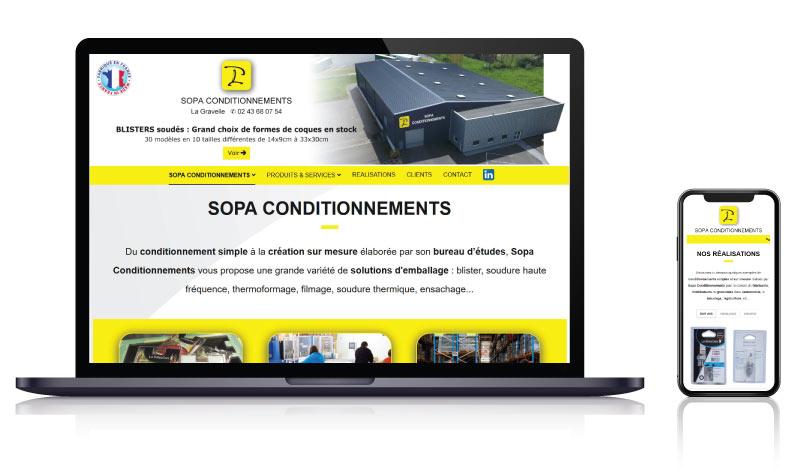 Site internet de la PME Sopa Conditionnement atelier fabrication<br>réalisé par <strong>SiteWebconcept,</strong> <strong>Agence Web</strong><br>à <strong>Rueil Malmaison</strong>, <strong>Laval</strong> et <strong>Vitré</strong>