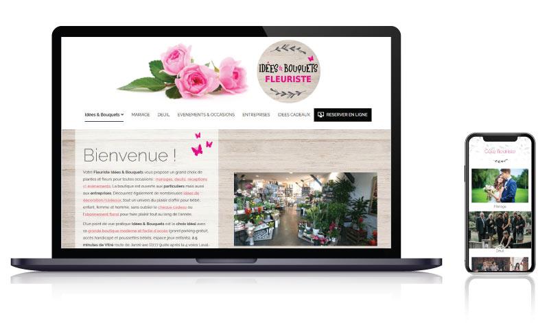 Site internet vitrine commerçant fleuriste Idées et Bouquets<br>réalisé par <strong>SiteWebconcept,</strong> <strong>Agence Web</strong><br>à <strong>Rueil Malmaison</strong>, <strong>Laval</strong> et <strong>Vitré</strong>